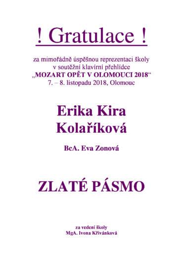 Mozart opět v Olomouci 2018