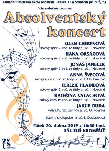 Absolventský koncert 26. dubna 2019