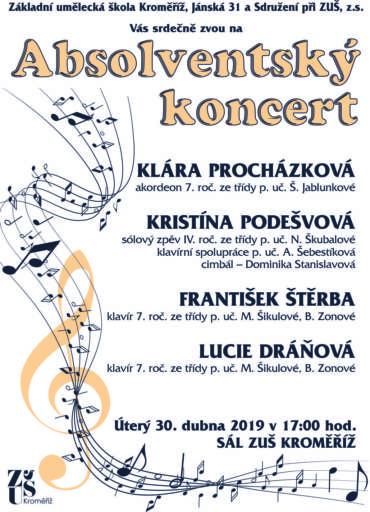 Absolventský koncert 30. dubna 2019