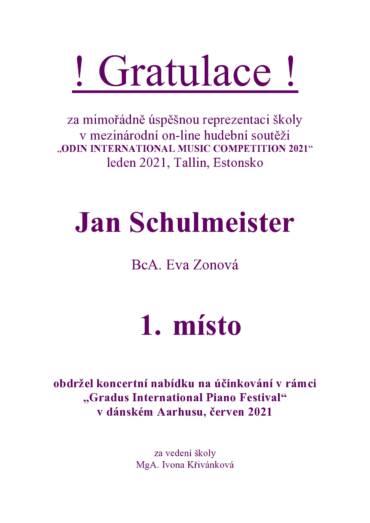 ODIN INTERNATIONAL MUSIC COMPETITION 2021 – mezinárodní on-line hudební soutěž